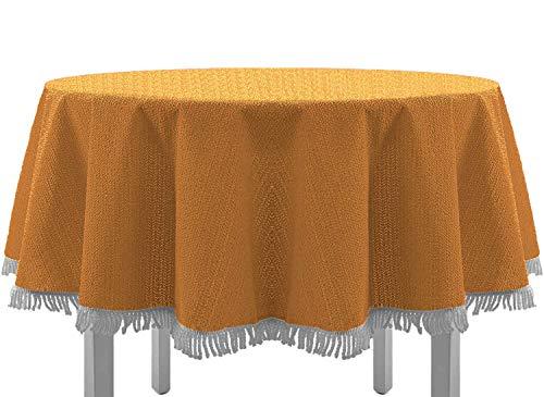 Tovaglia per tavolo da giardino con frange, per tavolo rotondo, ovale, rettangolare, classico, Tessile, Orange, 140 x 180 cm, ovale