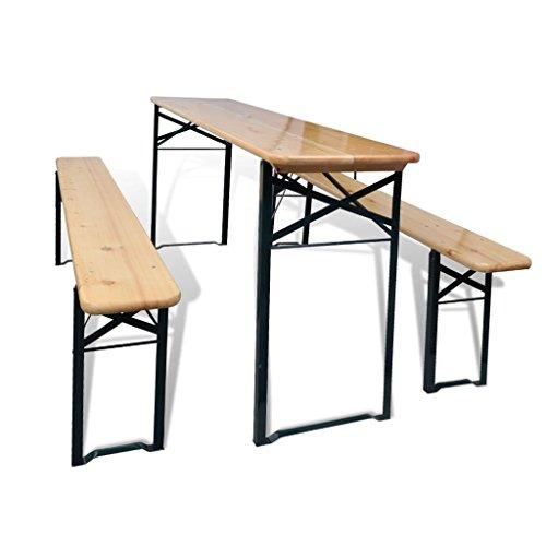 Festnight Set de Muebles de Comedor Plegable Set de Mesa y Bancos...