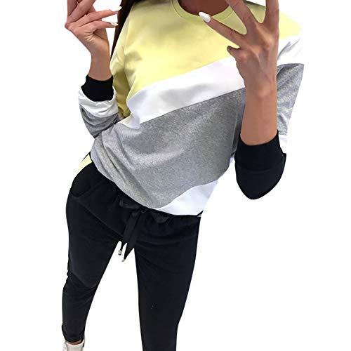 Damen Langarm Tops V-Ausschnitt Lose Oversize Lang Sweatshirt Pullover Frau Spleißen Farbe Gestreift Langarm Oberteile Bluse Hemd