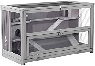 Aivituvin Upgraded 3 Tier Hamster Cage, Guinea Pig Habitat with Chewing Toy,Hideout,Seesaws,Food Bowl, Ferret House-Leak Proof Plastic Tray