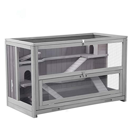 Aivituvin Upgraded 3 Tier Hamster Cage, Guinea Pig Habitat with Chewing Toy,Hideout,Seesaws,Food Bowl, Rat House-Leak Proof Plastic Tray