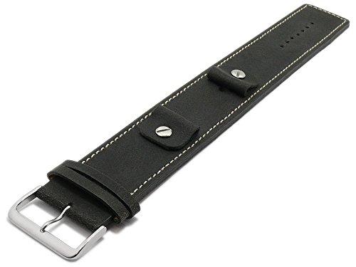 Meyhofer Uhrband Gotha 14-16-18-20mm schwarz Leder Antik-Look helle Naht Unterlagenband...