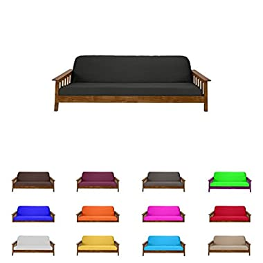 Futon Mattress Cover Solid Color Choose Color and Size Twin Full Queen (Queen (6 x60 x80 ), Black)