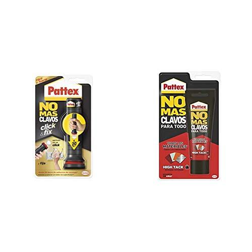 Pattex No Más Clavos Click&Fix, adhesivo de montaje de fácil uso, pegamento instantáneo listo para usar + No Mas Clavos Para Todo HighTack Adhesivo de montaje resistente a temperaturas extremas