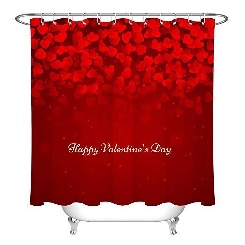 XZLWW Heart Love douchegordijn met Valentijnsdag, badmat, romantische stof, waterdicht, van polyester, voor badkamer, voor meisjes