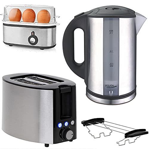 TronicXL Wasserkocher + 2-Schlitz Toaster mit Brötchen-Aufsatz + Eierkocher Frühstück-Set Frühstücks-Set I Brot Toast mit Aufback- und Auftau-funktion I Edelstahl silber schwarz Frühstücksset