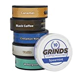 Grinds Coffee Pouches | 6 Can Sampler | Caramel, Black Coffee, Cinnamon Roll, Vanilla, Wintergreen, Spearmint | Tobacco Free, Nicotine Free Healthy Alternative | 1 Pouch eq. 1/4 Cup of Coffee (6 Can Sampler)