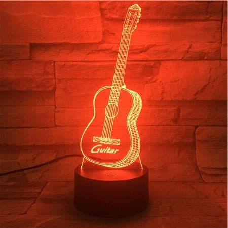 Basgitaar USB 3D LED Nachtlampje Multicolor Rgb Jongen Kind Kind Kind Baby Cadeau Sfeer Tafellamp Nachtlampje Aan Het Bed
