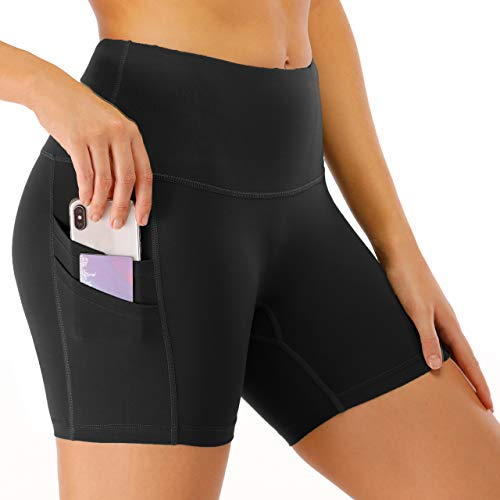 DF-deals Biker Shorts for Women SpandexHigh Wasited Yoga Shorts with Pockets Running Athletic Workout Fitness Gym Shorts with Pockets Black - M