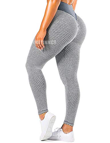 INSTINNCT Women Yoga Pants High Waist Mesh Seamless Compression Booty Push up Hip Anti Cellulite Squat Proof Fitness Leggings Gym Workout Tights Grey White,XL