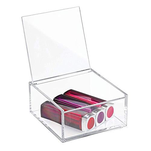 iDesign Organizador de maquillaje con tapa (10,2 x 10,2 x 5,1 cm), caja de belleza pequeña en plástico sin BPA, organizador de cosméticos apilable de acrílico, transparente