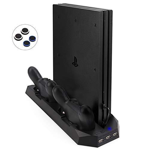 Base PS4 Slim / PS4 Pro, Aggiornato FlexDin Ventola di Raffreddamento per PlayStation 4 Slim / Pro, Supporto Verticale con Doppia Stazione Ricarica PS4 Controller e 3 porte USB Hub per PS4 Slim e Pro