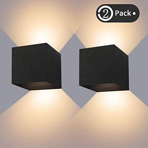 LED Wandleuchte Außenwandleuchte 12W Wandlampe mit Einstellbar Abstrahlwinkel Wandlicht Warmweiß 3000K Aluminium Wandbeleuchtung IP65 Wasserdichte(2 Stücke)