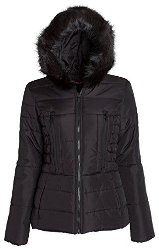 Sportoli Junior Women's Rouched Detail Winter Coat Hooded Short Puffer Jacket (Black / 3X)