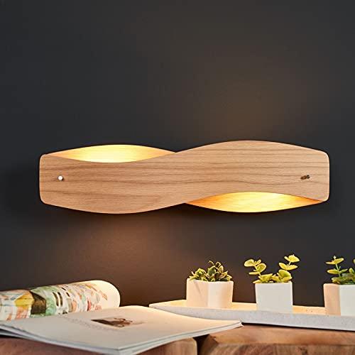 LED Lámpara de pared 'Lian' (Diseño) en Marrón hecho de Madera e.o. para Salón & Comedor (A+) de Lucande   lámparas de pared de madera, aplique