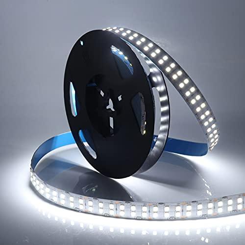 ZZSSC LED Strip Light Fila Doble 24V 12V 2835 5M 1200leds Cinta LED Impermeable Flex LED Lightging Frío Blanco/Natural Blanco/Caliente Blanco(Cold White,IP21 NON-waterproof-5m 12V)