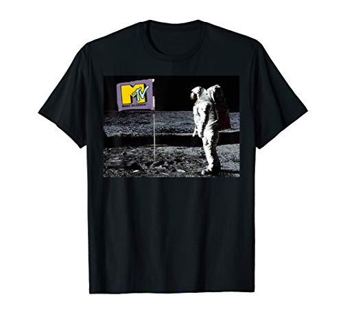 MTV Man On The Moon Logo Flag Graphic T-Shirt
