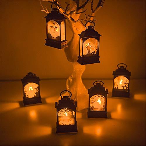 DXXCV (6 Pack) Draagbare Kasteel Led Lantaarn, Vintage Lantaarn Lamp Home Decoratie Creatieve Nachtlampen, Vintage Stijl Decoratieve Lantaarn voor Halloween