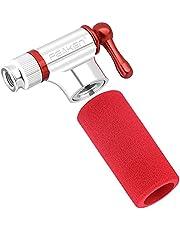 Peaken Fietspomp CO2, Minipomp Snel Lichtgewicht Compatibel met Presta Schrader-ventiel voor Ballen/Race-mountainbikes Bandenpomp met hoes (geen bevat CO2-cartridges)