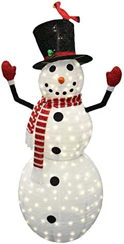 Joiedomi 6ft Tinsel Collapsible Snowman 240 LED Warm White Yard Light for Christmas Outdoor product image