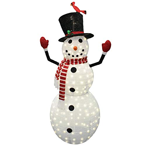 Joiedomi 6ft Tinsel Collapsible Snowman 240 LED Warm White Yard Light for Christmas Outdoor Yard Garden Decorations, Christmas Event Decoration, Christmas Eve Night Decor
