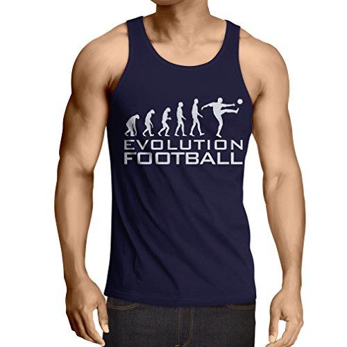 lepni.me Camisetas de Tirantes para Hombre La evolución del fútbol - Camiseta de fanático del Equipo de fútbol de la Copa Mundial (Large Azul Blanco)
