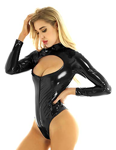 LiiYii Women's One Piece Long Sleeves Leotard Hollow Out Breast Mock Neck Wet Look Leather Bodysuit