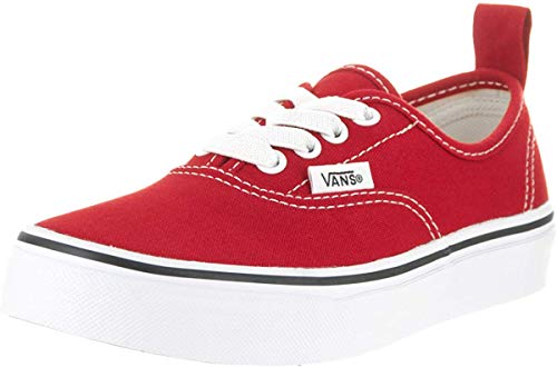 Vans Kids Authentic Elastic (Elastic Lace) Skate Shoe Racing Red/True White 11.5