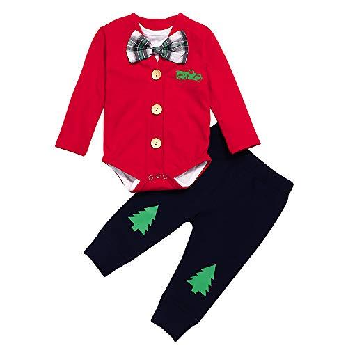 Newborn Baby Boy Christmas Outfits Gentleman Cardigan Suit+Bow Tie Bodysuit Inside+Pants 3Pcs Clothing Set (0-3 Months)