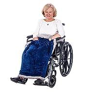 Granny Jo Products Heavyweight Wheelchair Blanket, Navy Face/Grey Back