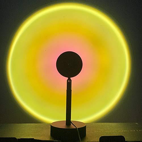 YUEBAOBEI Sunset Rainbow Proyector Luz Nocturna Proyector Luz LED, con USB, Luz LED, 180° Rotación Luz LED Visual Romántica, para Fiesta En Casa Sala Estar Dormitorio Decoración Lámpara,Sun