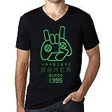 Photo de Homme Graphique Col V Tee Shirt Gamer Since 1995 Cadeau d'anniversaire 26 Ans Noir Profond