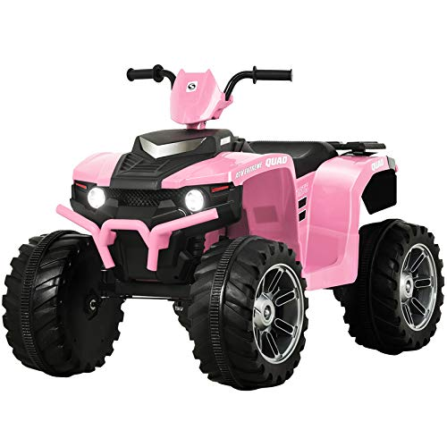 Uenjoy 12V Kids Electric 4-Wheeler ATV Quad Ride On Car Toy w/ 3.7mph Max Speed, Treaded Tires, LED Headlights, Music, Radio, Bluetooth, USB (Pink)