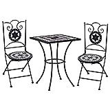 vidaXL Set Bistrò 3 pz con Mosaico Robusto Elegante Tavolo e Sedie per Esterni Arredi da Giardino Patio in Ceramica Nero e Bianco Telaio in Ferro
