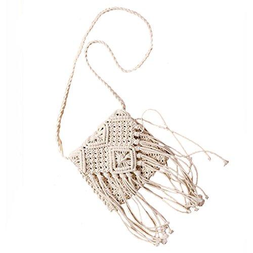 Frauen Aushöhlen Crochet Quasten Umhängetasche Rattan Umhängetasche - Weiß, one size