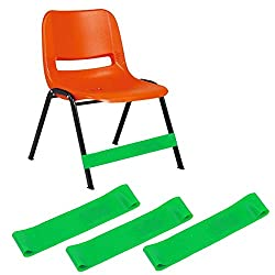 Top 10 Teacher Supplies: Green fidget bands that wrap around the bottom of an orange chair legs to give students something to do with their feet