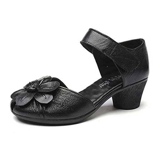 Damen Pumps, Hochzeitsschuhe Damen Brautschuhe Runde Zehen Sandalen Klassische Party Schuhe Leder-Optik Laceabsatz Pumps Tanzschuhe Slippers Schwarz 41