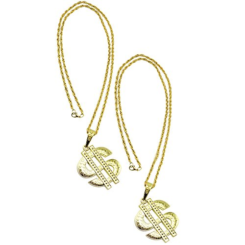 com-four 2x Necklace with Dollar Pendant, Pimp Hip-Hop Necklace with Dollar Sign for Carnival, Carnival or Halloween (Dollars - 2 pieces)