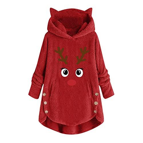 Jersey Navidad Mujer Abrigo de Mujer de Franela Rebecas con Botones de Asta de Navidad Camiseta Térmica Mujer Manga Larga Niñas Sweatshirt de Orejas de Gato Abrigos con Botones 6 Colors Grandes S~5XL