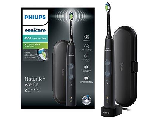 Philips Sonicare HX6830 53 ProtectiveClean - Cepillo de dientes eléctrico con sensor de presión, reconocimiento inteligente de cabezal, 2 modos de limpieza y estuche de viaje, color negro