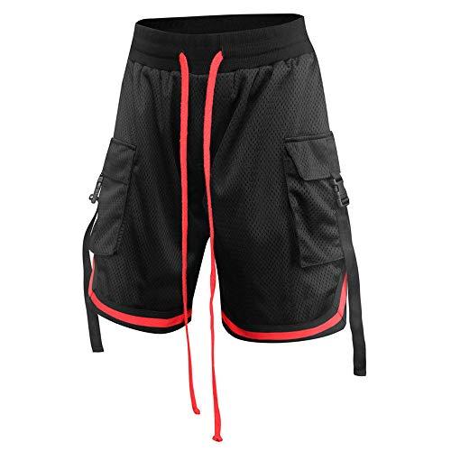 GenGXINLIN Short pour homme avec poches, plusieurs poches pour l'été - Couleur unie - En coton vert armée - Respirant - Pour la course à pied - Style décontracté et décontracté