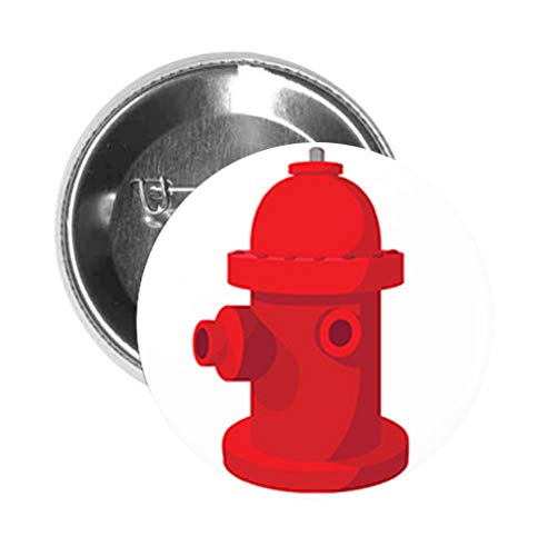 Round Pinback Button Brooch Red Fire Hydrant Cartoon (3' Inch)