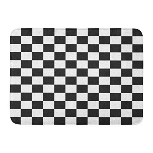 Soefipok Fußmatten Bad Teppiche Outdoor/Indoor Fußmatte Flagge Schachbrettmuster Checker Rennen Schachbrett Vintage Board Badezimmer Dekor Teppich Badematte
