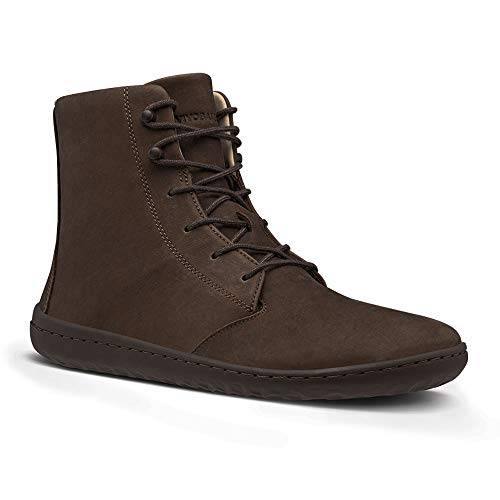 Vivobarefoot Gobi Hi Iii, Womens Leather Lace Up Winter Boot with Barefoot Sole & Warm Lining Brown