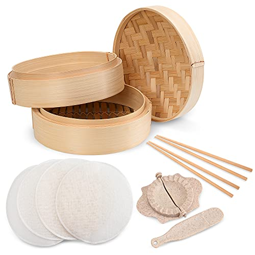 Annie's Kitchen Premium 10-Inch Handmade Bamboo Steamer