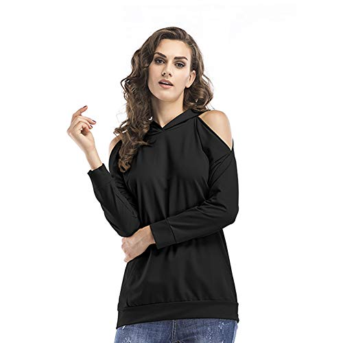Vrouwen Shirt Met Lange Mouwen Top/Sexy Solid Color Strapless Trui Mid-Length Hoodies Casual T-Shirt Top,Black,XL