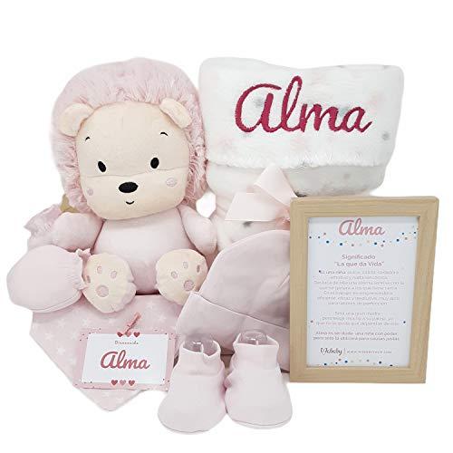 Happy Animals de Mababy - Canastilla Bebé Personalizada - Set Regalo Recién Nacido - Cesta de Bebé Para regalo - Regalo Personalizado Bebé (León Rosa)