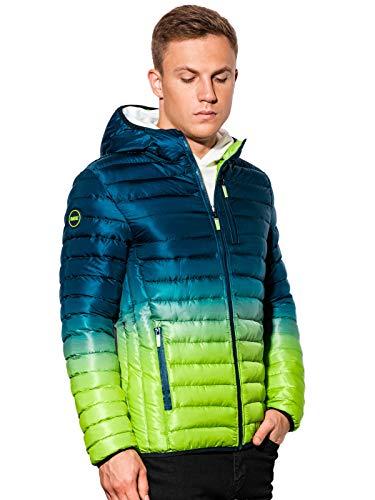 Ombre Chaqueta corta para hombre, con degradado, con cremallera y capucha, forro cálido, chaqueta de entretiempo para estaciones más frías, con dobladillo y mangas acolchadas. azul marino/verde. M