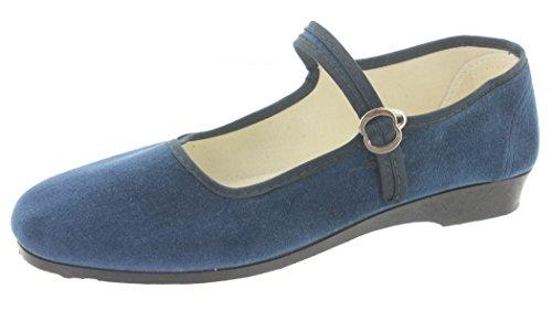 MIK Funshopping Samt-Ballerina China Flat Jeans Blue Blau 37