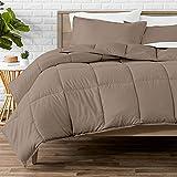 Bare Home Comforter Set - Queen Size - Goose Down Alternative - Ultra-Soft - Premium 1800 Series - All Season Warmth (Queen, Taupe)